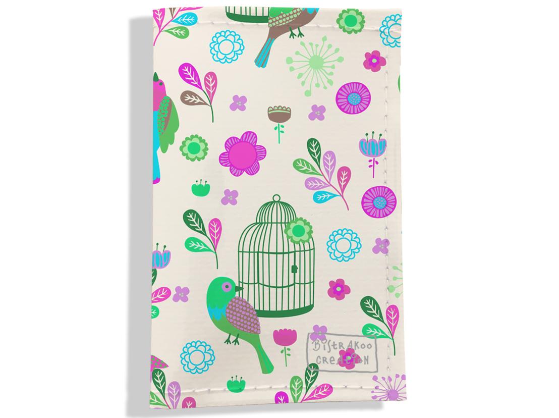 Porte carte grise pour femme motif Oiseaux et cages PCG6029