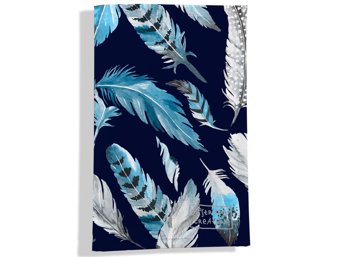 Porte carte grise pour femme motif Plumes grises et bleues  PCG6030