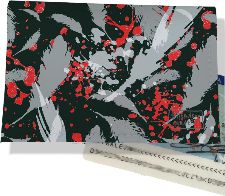 Porte carte d\'identité pour femme motif Plumes grises PCI6025