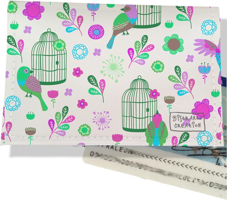 Porte carte d\'identité pour femme motif Oiseaux et cages PCI6029