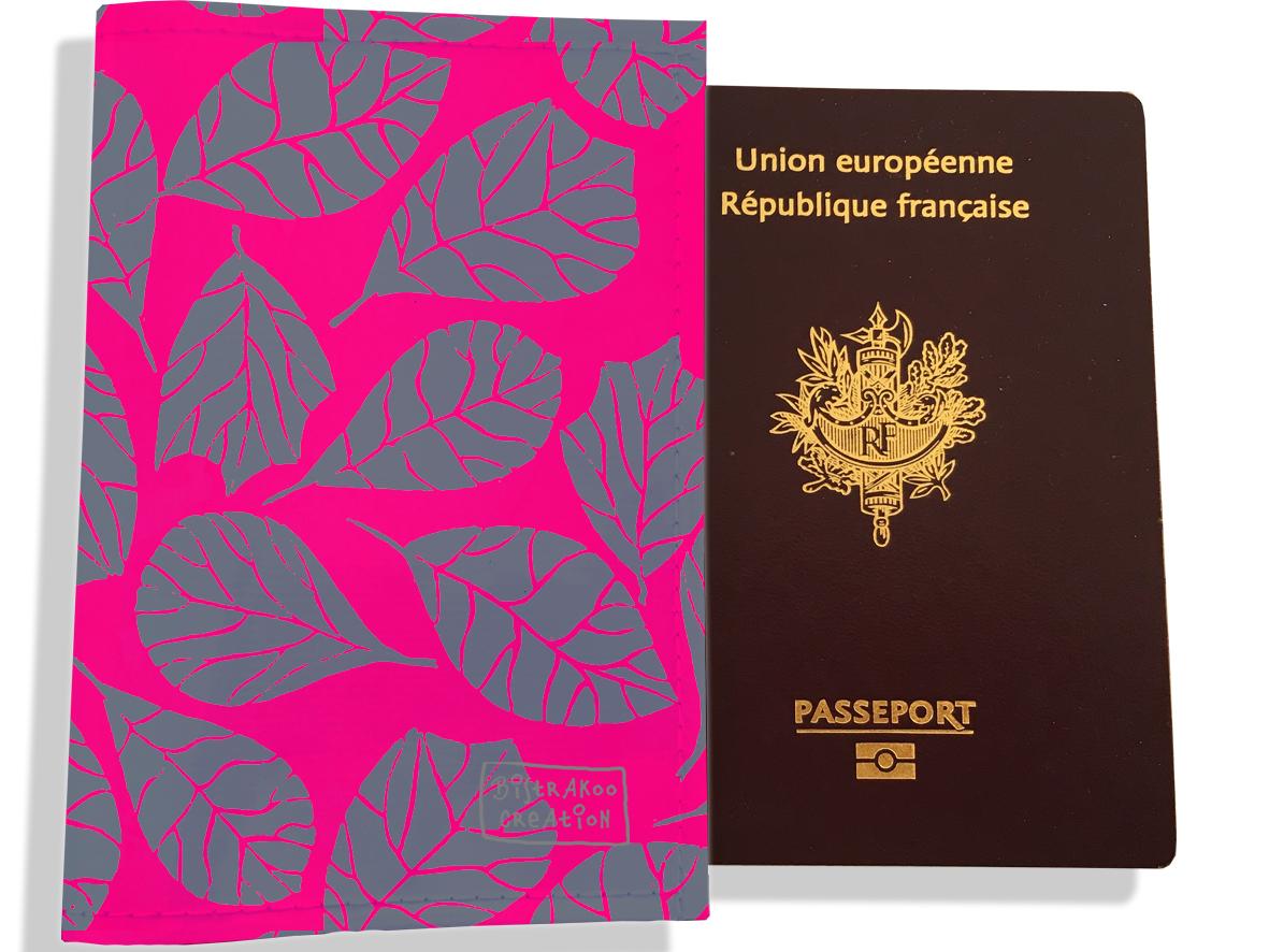 Protège passeport pour femme motif Feuillage PP6024