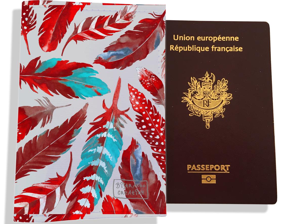 Protège passeport pour femme motif Plumes rouges PP6027