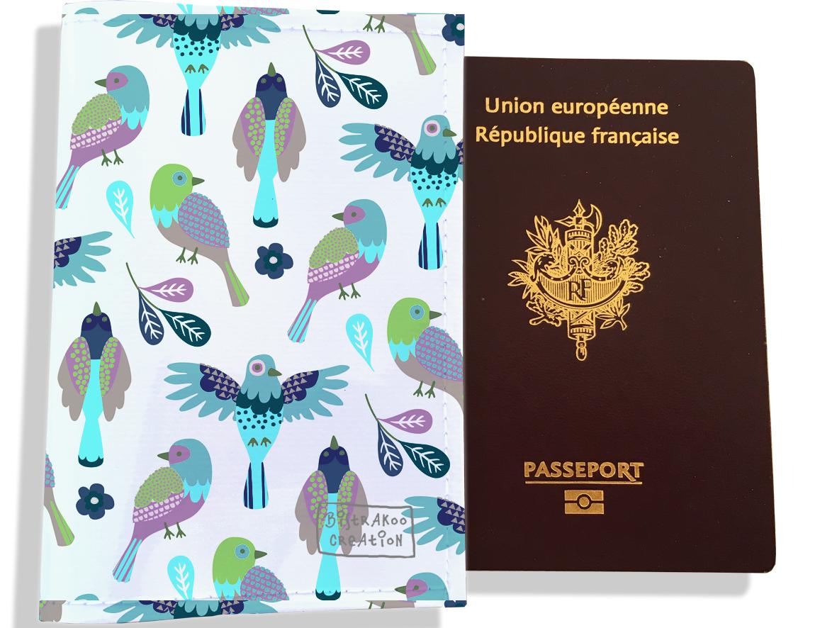 Protège passeport pour femme motif Oiseaux PP6028