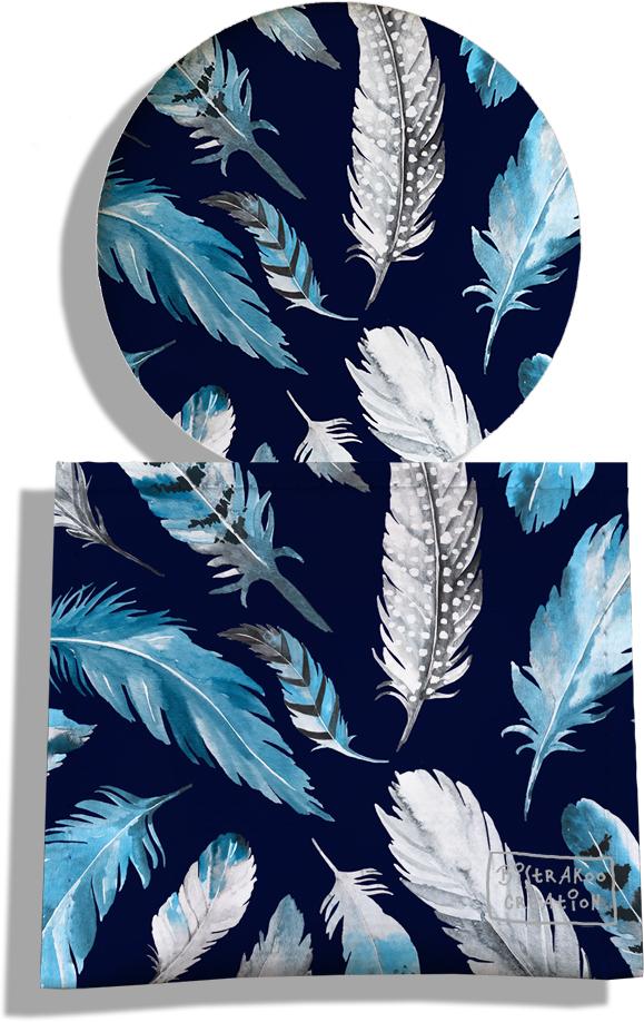 Miroir de Poche avec étui, Miroir de Maquillage pour femme motif Plumes grises et bleues MP6030