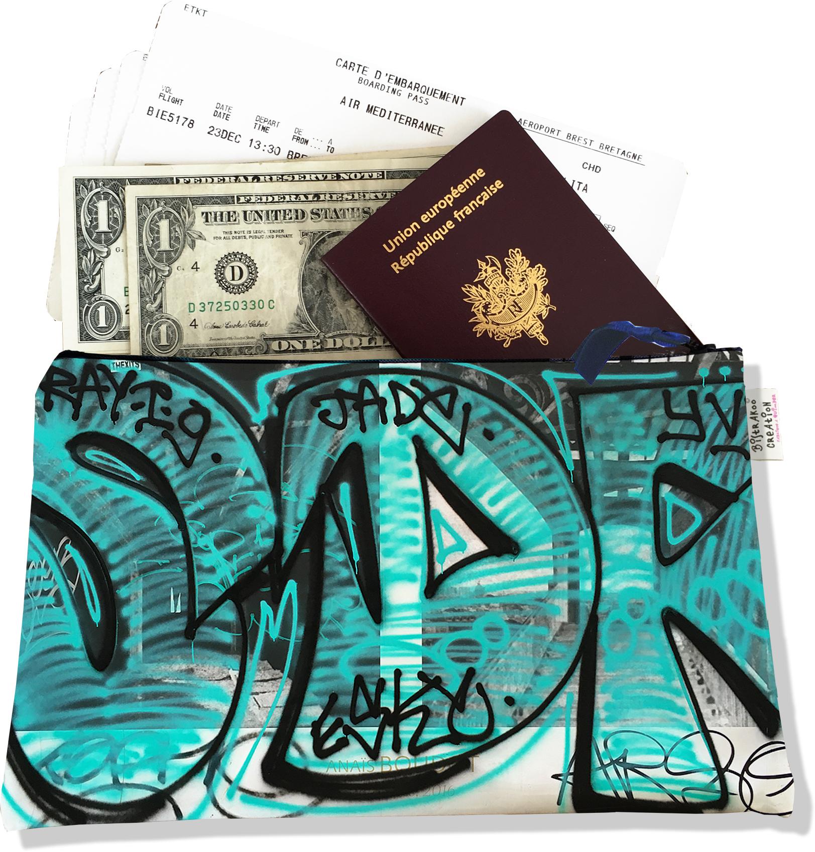 Pochette voyage, porte documents pour femme motif Street art PV6020