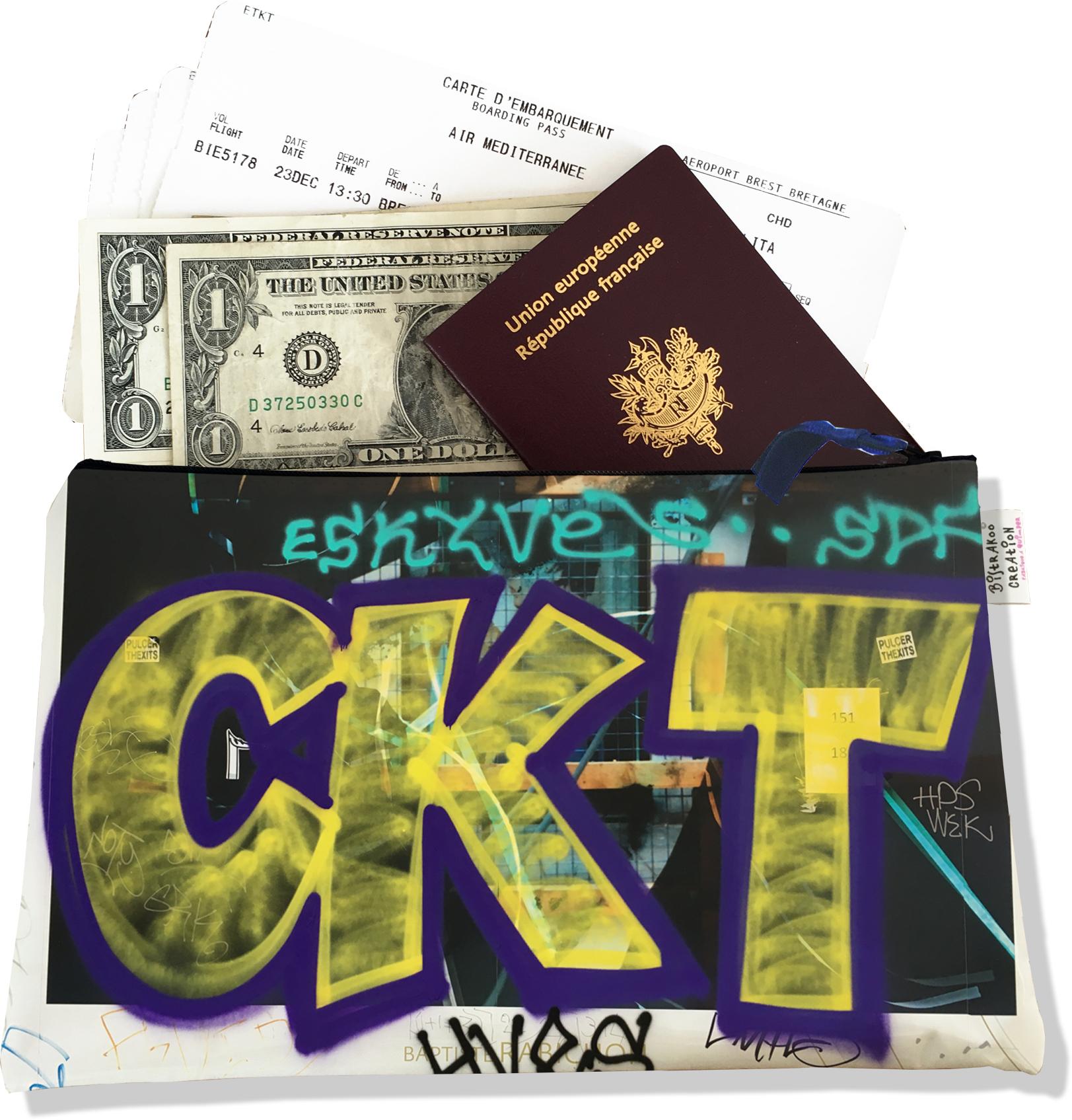 Pochette voyage, porte documents pour femme motif Street art PV6021