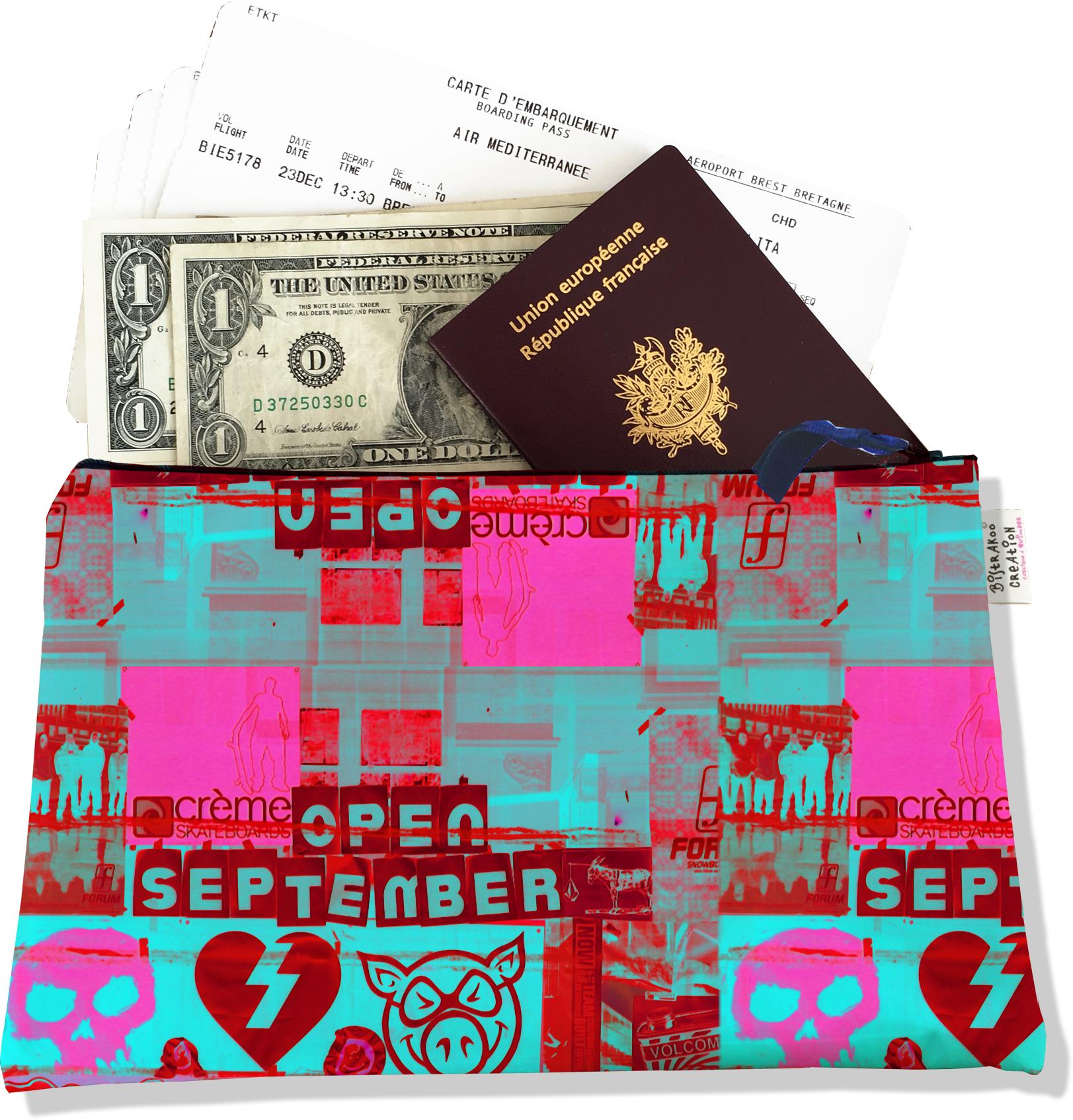 Pochette voyage, porte documents pour femme motif Street art PV6022
