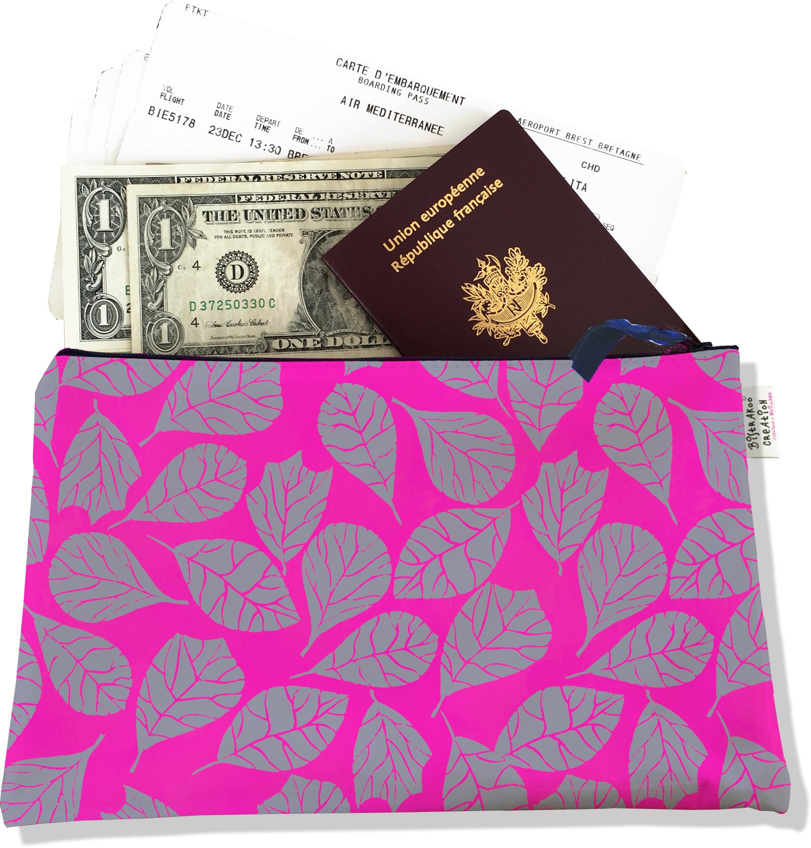 Pochette voyage, porte documents pour femme motif Feuillage PV6023