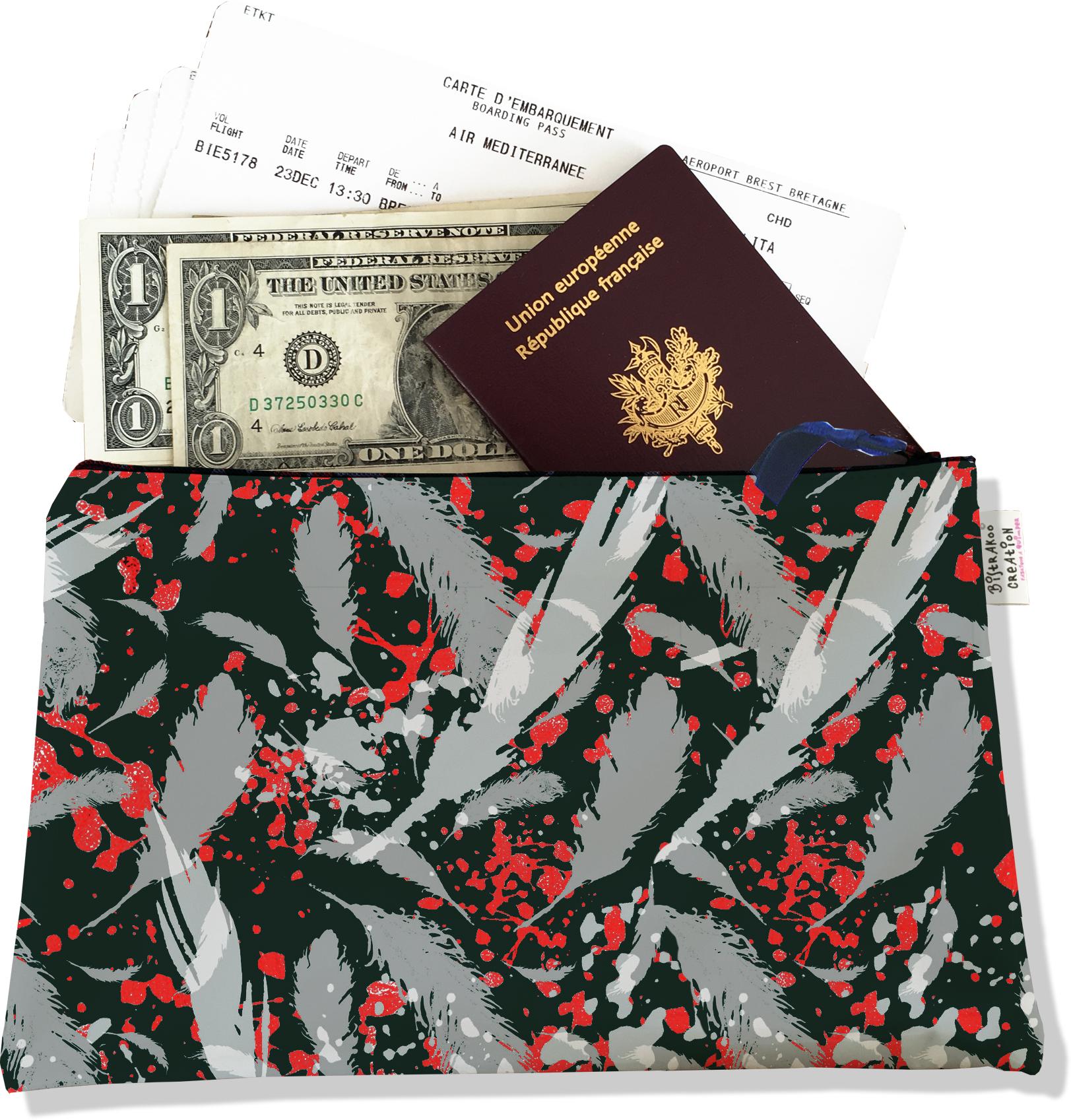 Pochette voyage, porte documents pour femme motif Plumes grises PV6025