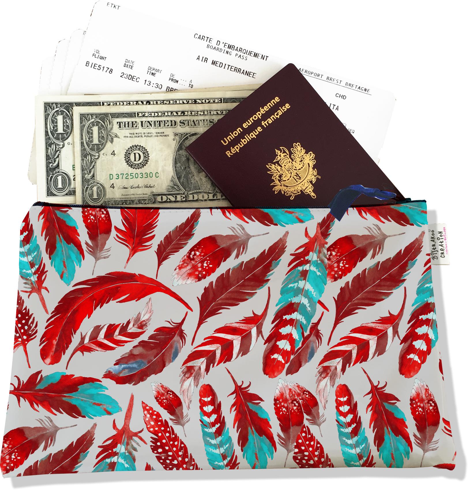 Pochette voyage, porte documents pour femme motif Plumes rouges PV6027