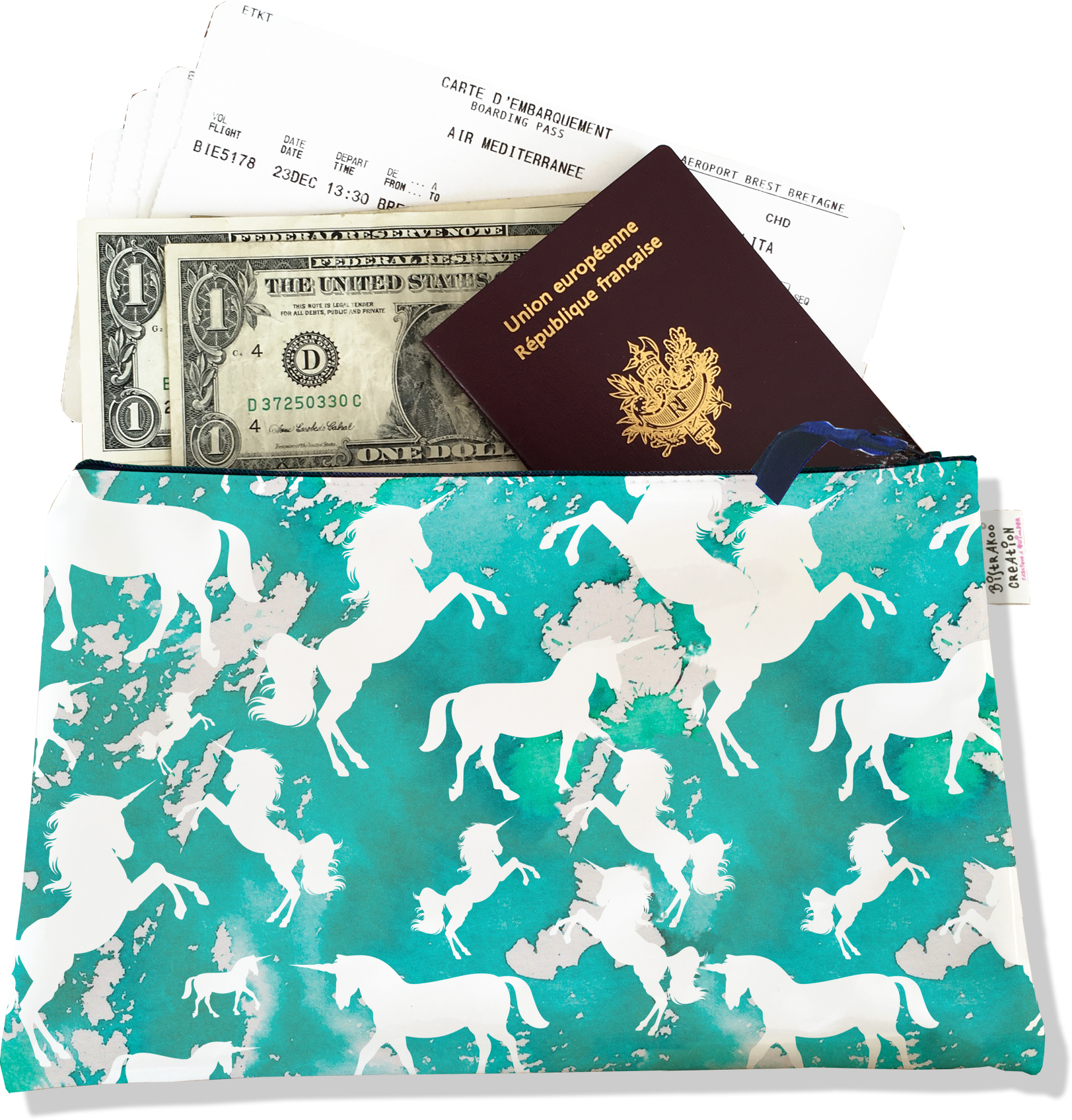 Pochette voyage, porte documents pour femme motif Licorne bleu PV6002-2015