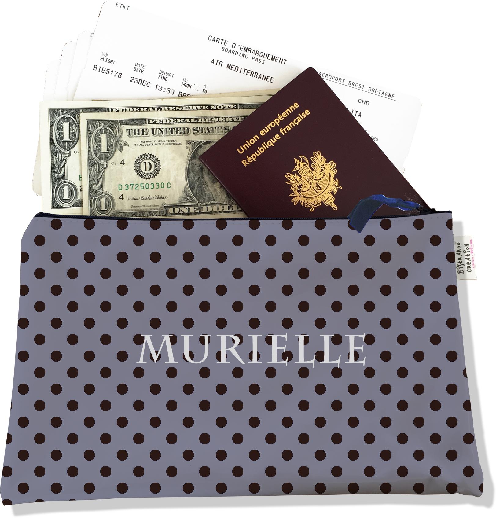 Pochette voyage personnalisable, porte documents pour femme motif pois blancs fond rose P2070-2015