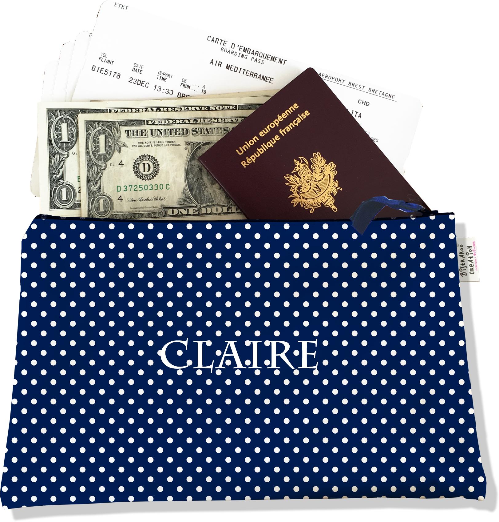 Pochette voyage personnalisable, porte documents pour femme motif pois blancs fond bleu marine P2064-2015