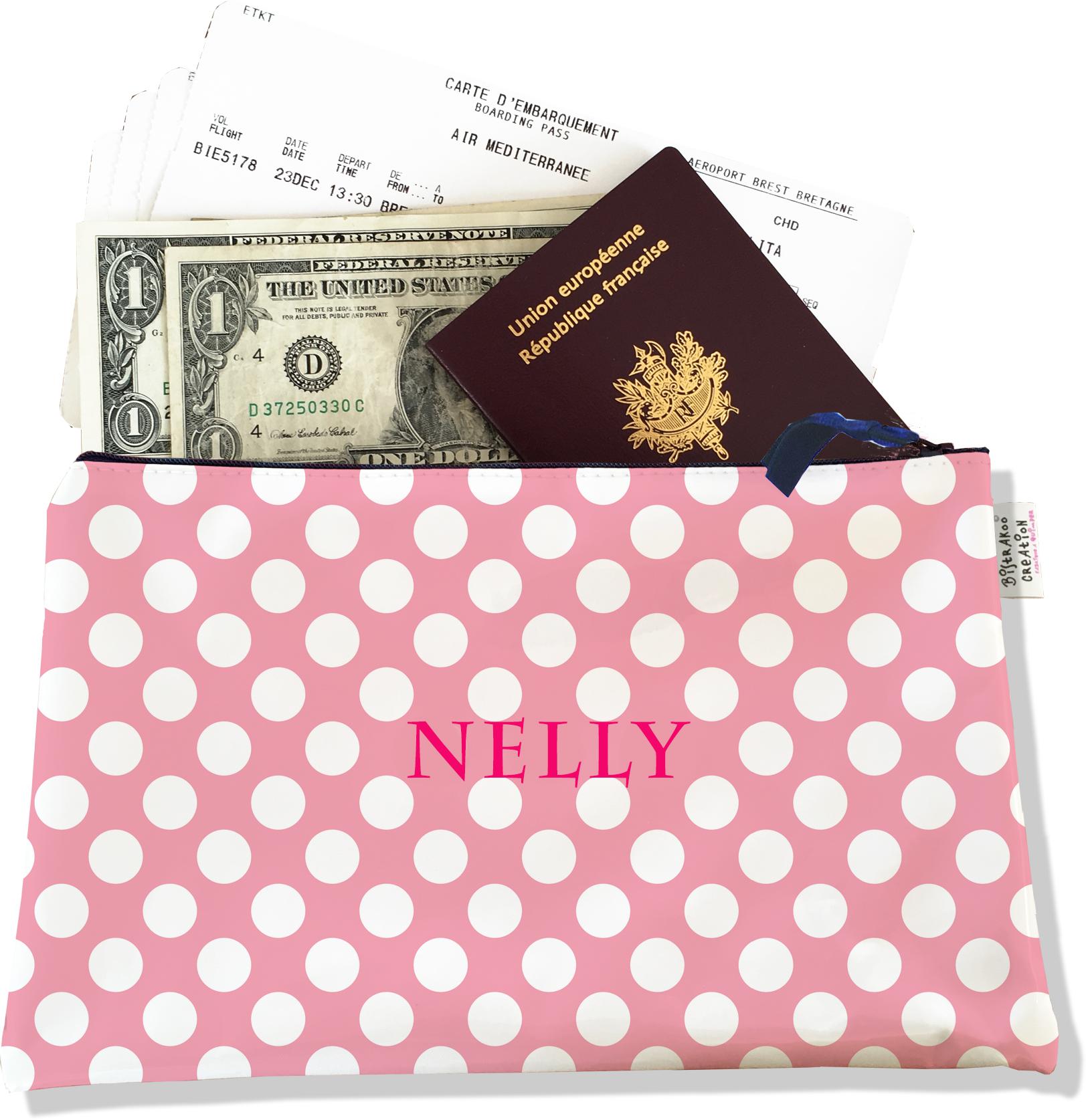 Pochette voyage personnalisable, porte documents pour femme motif petits pois blancs fond noir P2066-2015