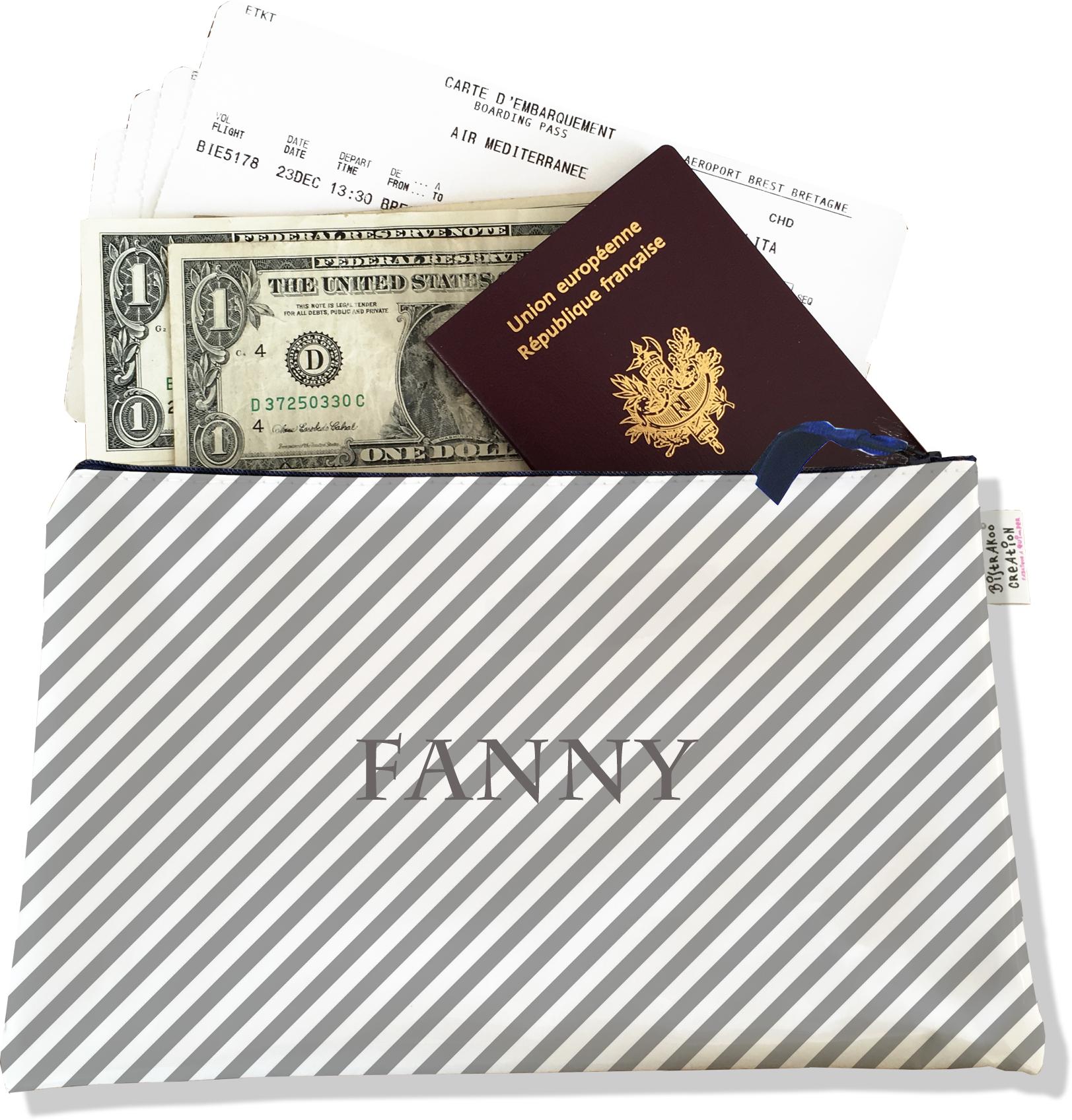 Pochette voyage personnalisable, porte documents pour femme motif lignes transversales grises fond blanc P2073-2015