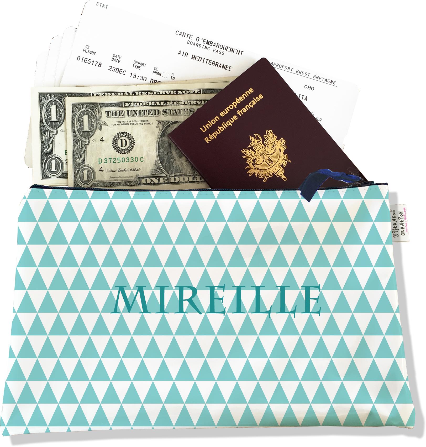 Pochette voyage personnalisable, porte documents pour femme motif graphique bleu ciel P2083-2015