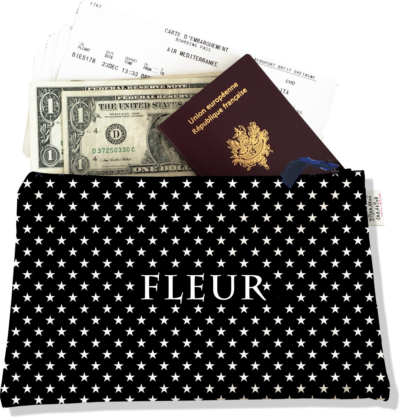 Pochette voyage personnalisable, porte documents pour femme motif étoiles blanches fond noir P2092-2015