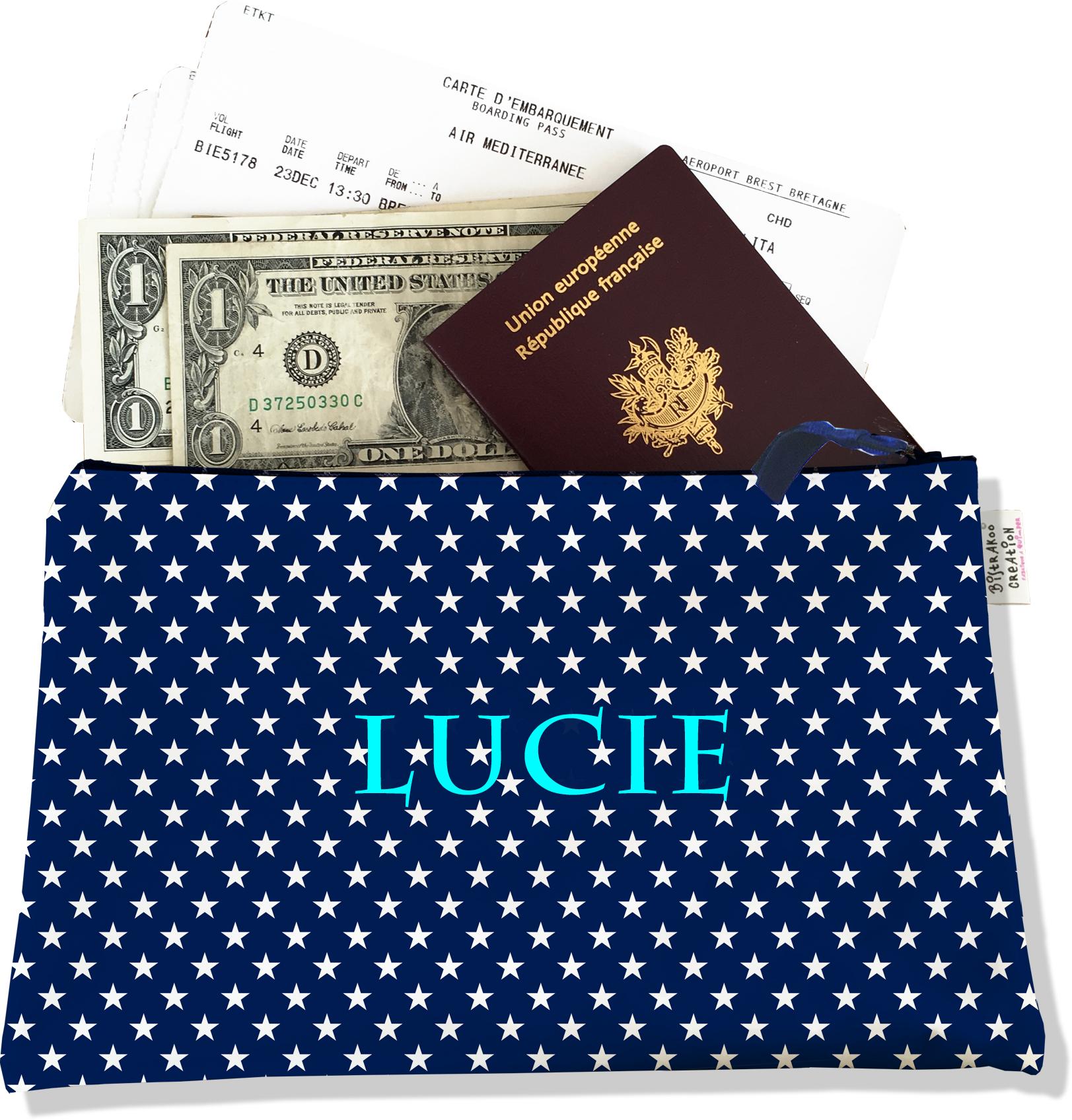 Pochette voyage personnalisable, porte documents pour femme motif étoiles blanches fond bleu marine P2088-2015