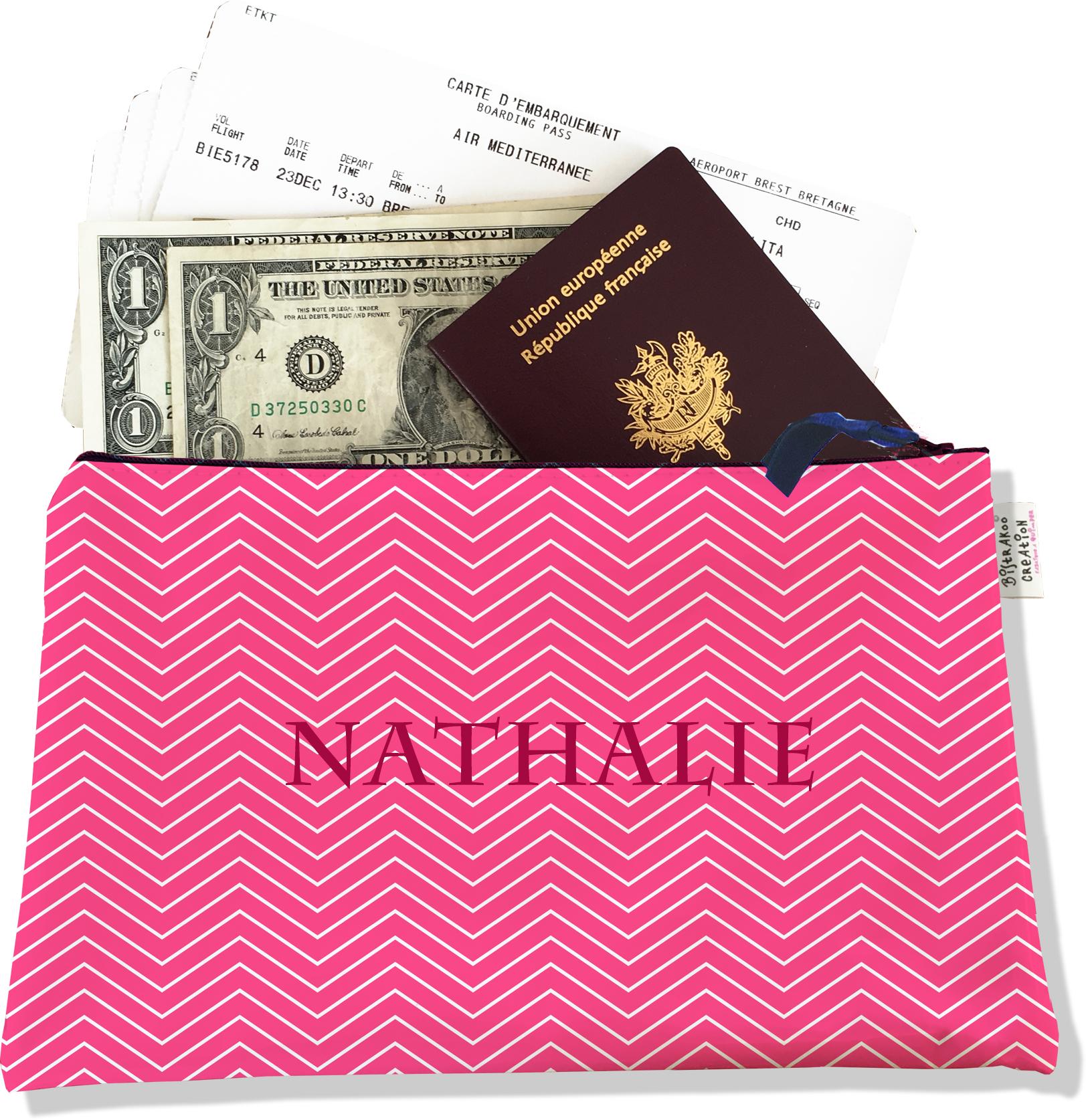 Pochette voyage personnalisable, porte documents pour femme motif chevrons blancs fond rose P2086-2015