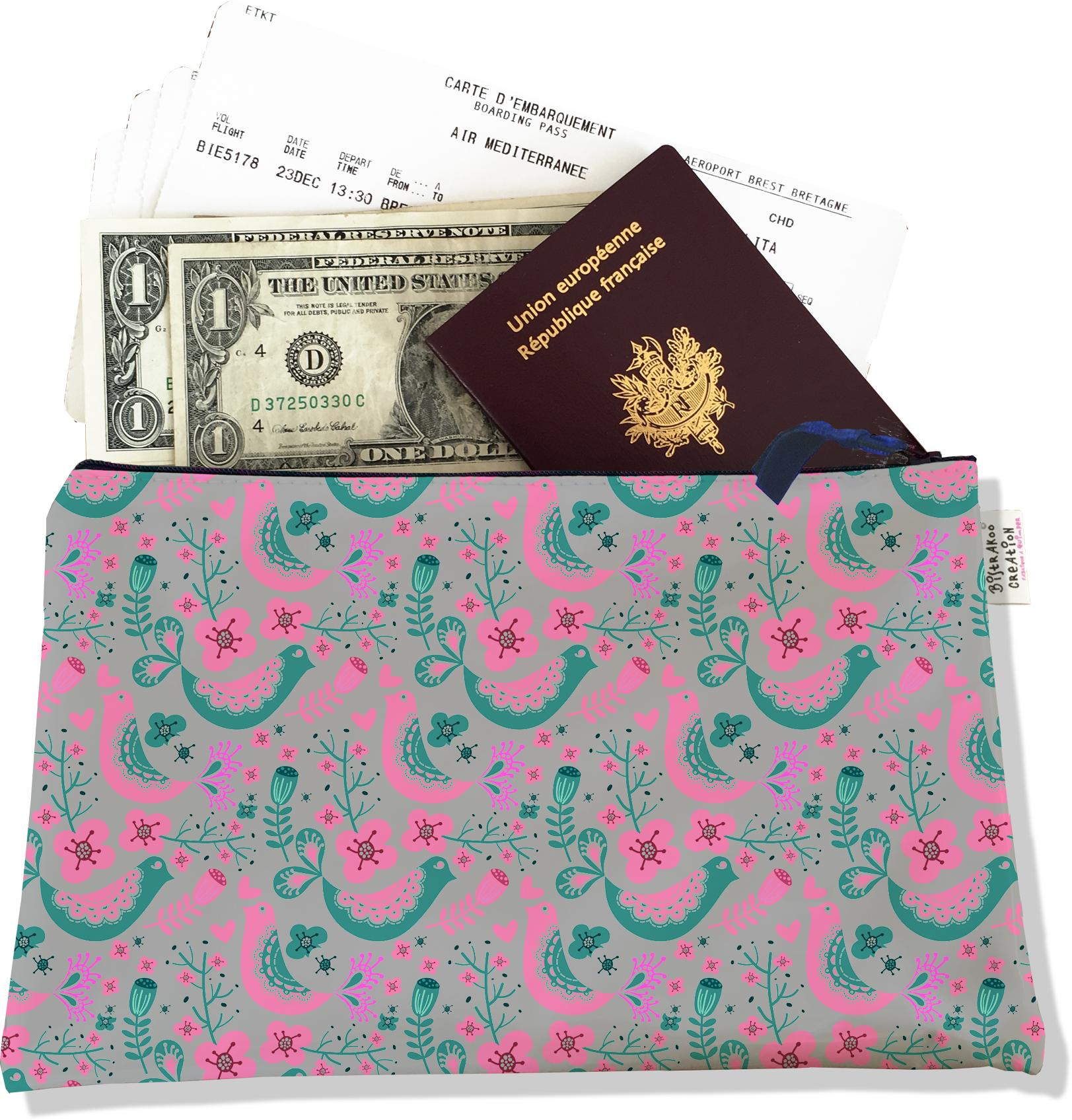 Pochette voyage, porte documents pour femme motif Scandinave vert et rose 3231-2017