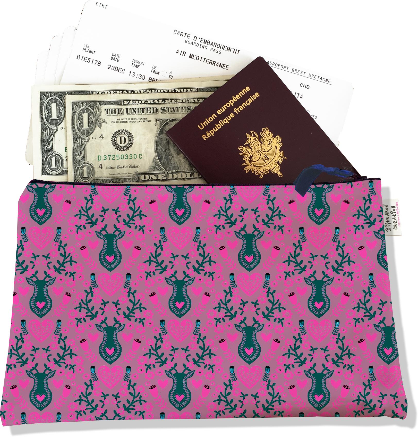 Pochette voyage, porte documents pour femme motif Scandinave rose et gris 3235-2017