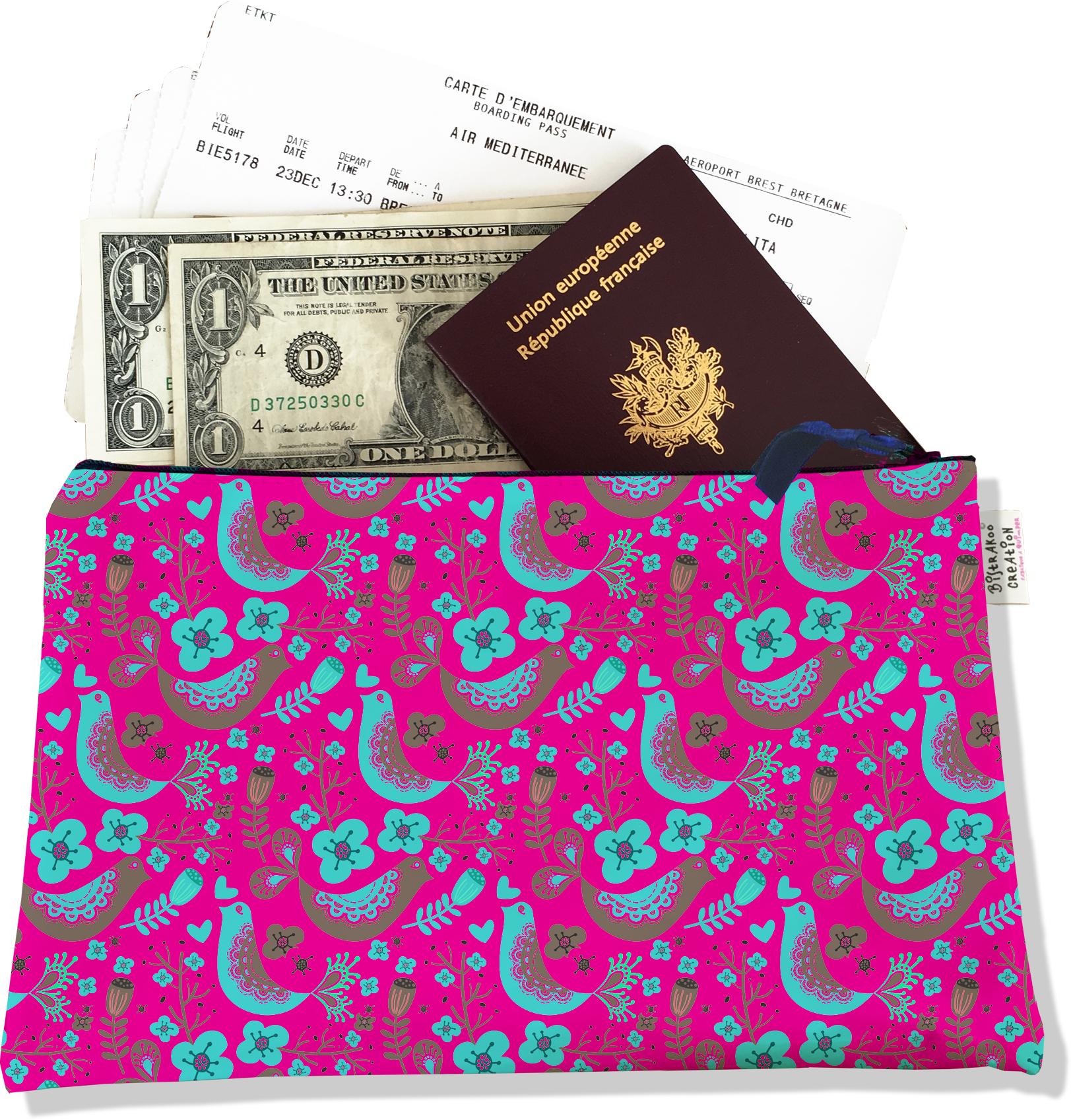 Pochette voyage, porte documents pour femme motif Scandinave rose et bleu 3232-2017