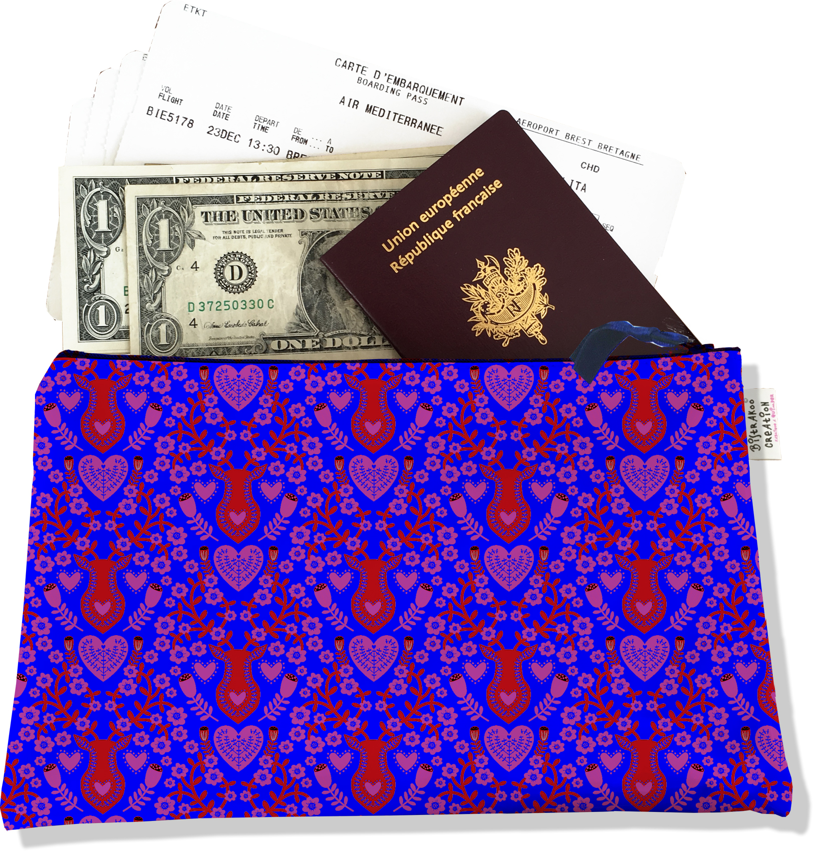 Pochette voyage, porte documents pour femme motif Scandinave bleu et rouge 3234-2017