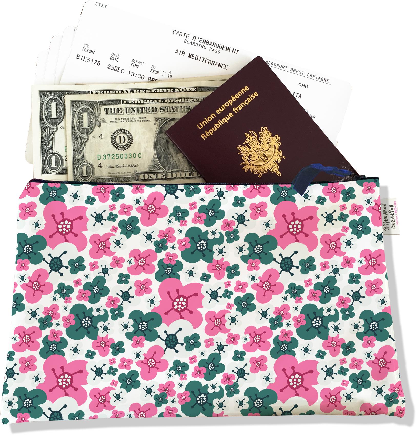 Pochette voyage, porte documents pour femme motif petites fleurs roses et vertes 3222-2017