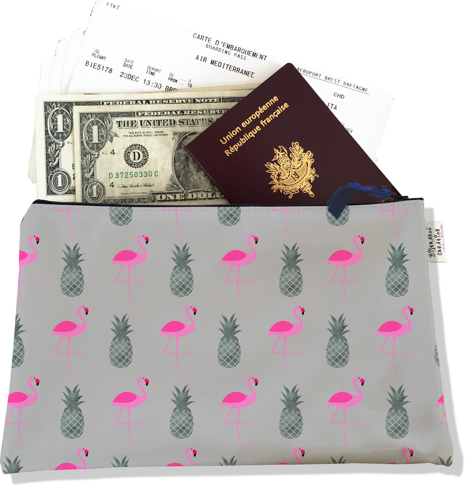 Pochette voyage, porte documents pour femme motif flamants roses et ananas fond gris 3216-2017