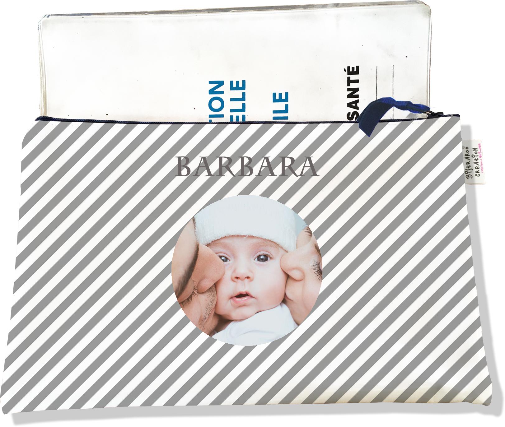Protège carnet de santé personnalisé zippé pour bébé fille motif Rayures