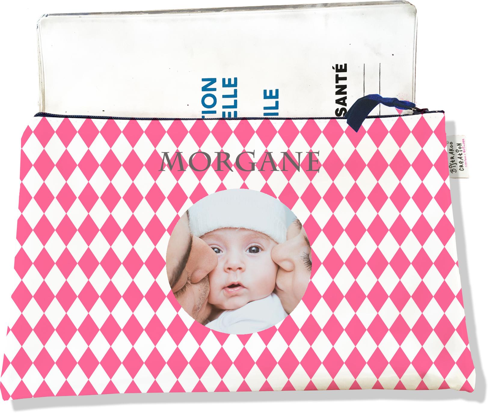 Protège carnet de santé personnalisé zippé pour bébé fille motif Graphique