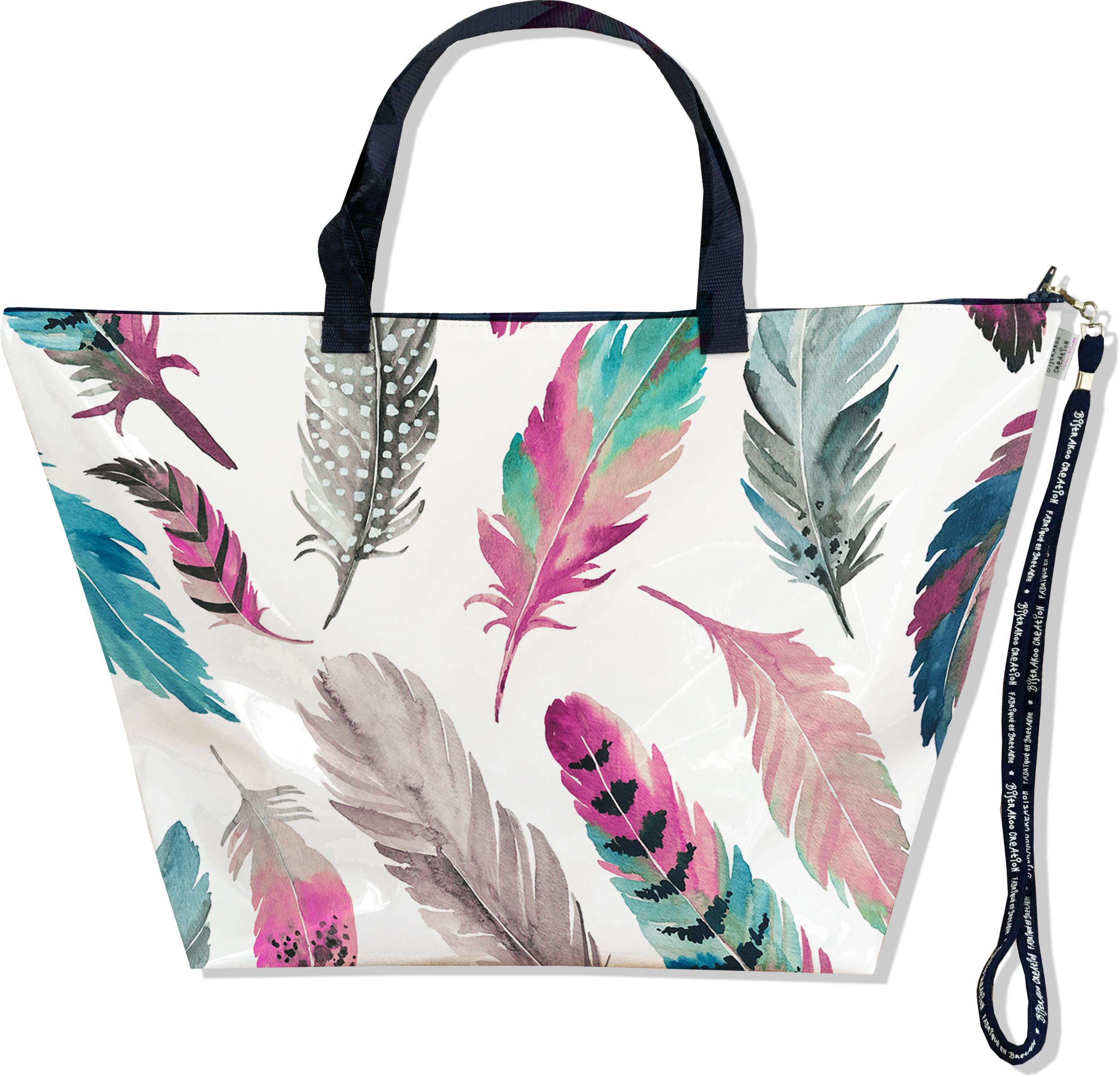 Grand Sac de voyage, sac week end pour femme motif Plumes multicolores SW6003-2019