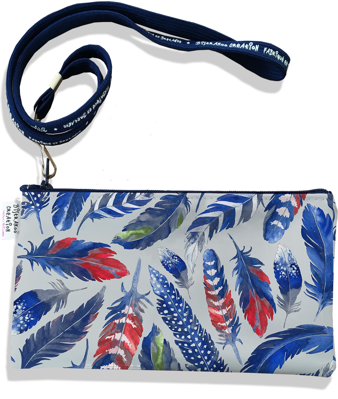 Pochette smartphone 5 & 6 pouces femme Plumes bleues PS6026