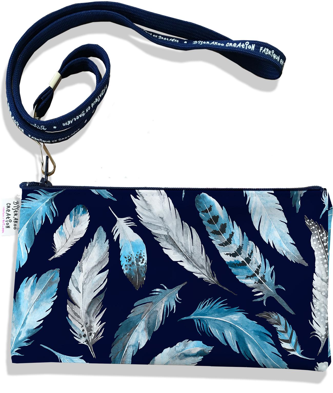 Pochette smartphone 5 & 6 pouces femme Plumes grises et bleues PS6030