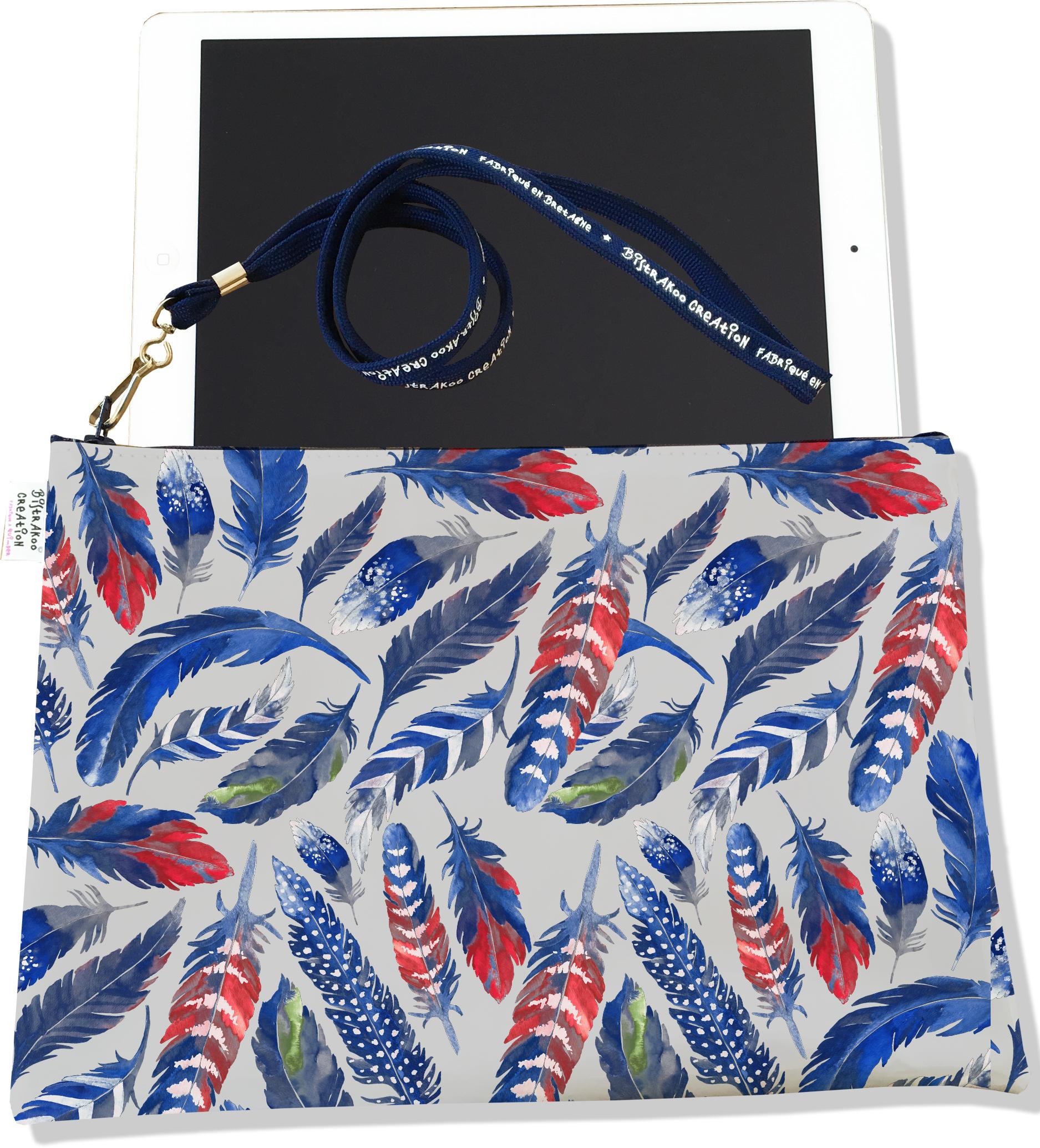 Housse pour tablette pour femme motif Plumes bleues HT6026
