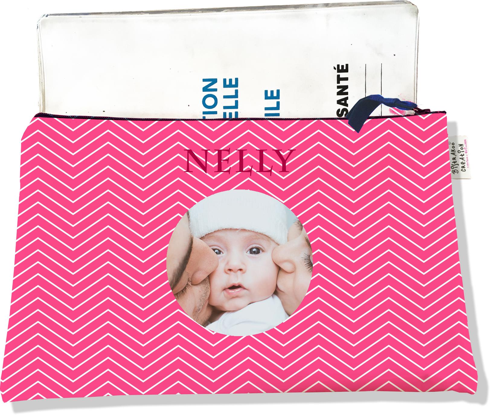 Protège carnet de santé personnalisé zippé pour bébé fille motif chevrons