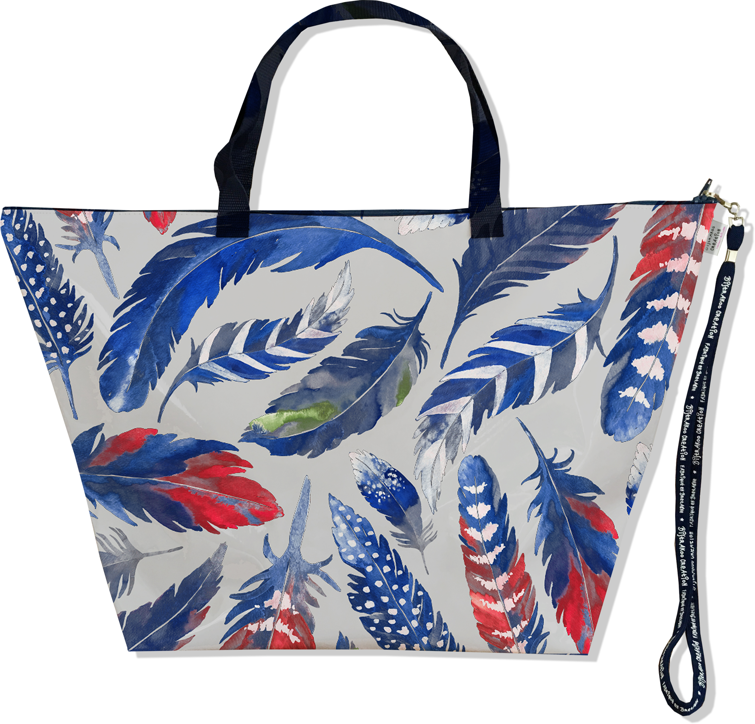Grand Sac de voyage, sac week end pour femme motif Plumes bleues SW6026