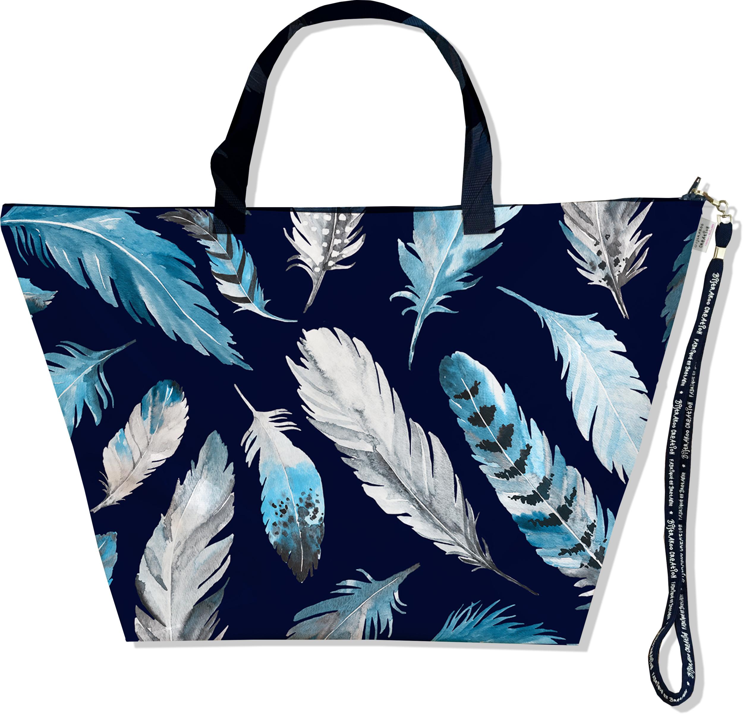 Grand Sac de voyage, sac week end pour femme motif Plumes grises et bleues SW6030