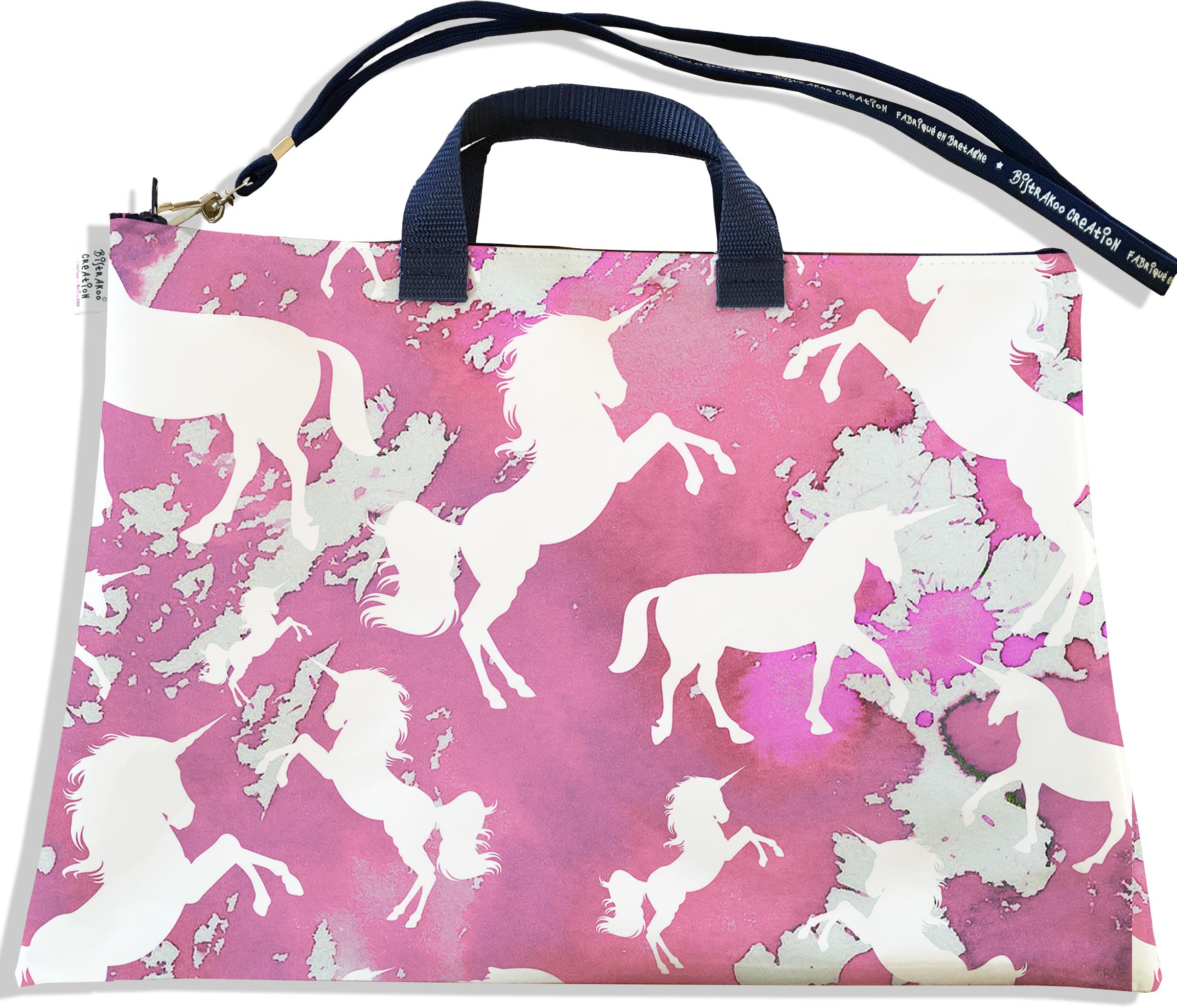 Sacoche ordinateur portable 11 & 13 pouces pour femme motif Licorne rose SOP6006