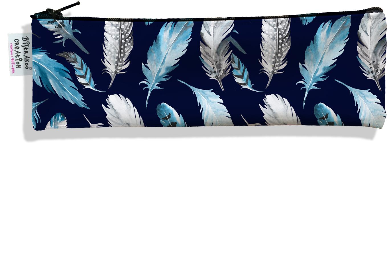 Trousse à brosse à dents pour femme Plumes grises et bleues TBD6030