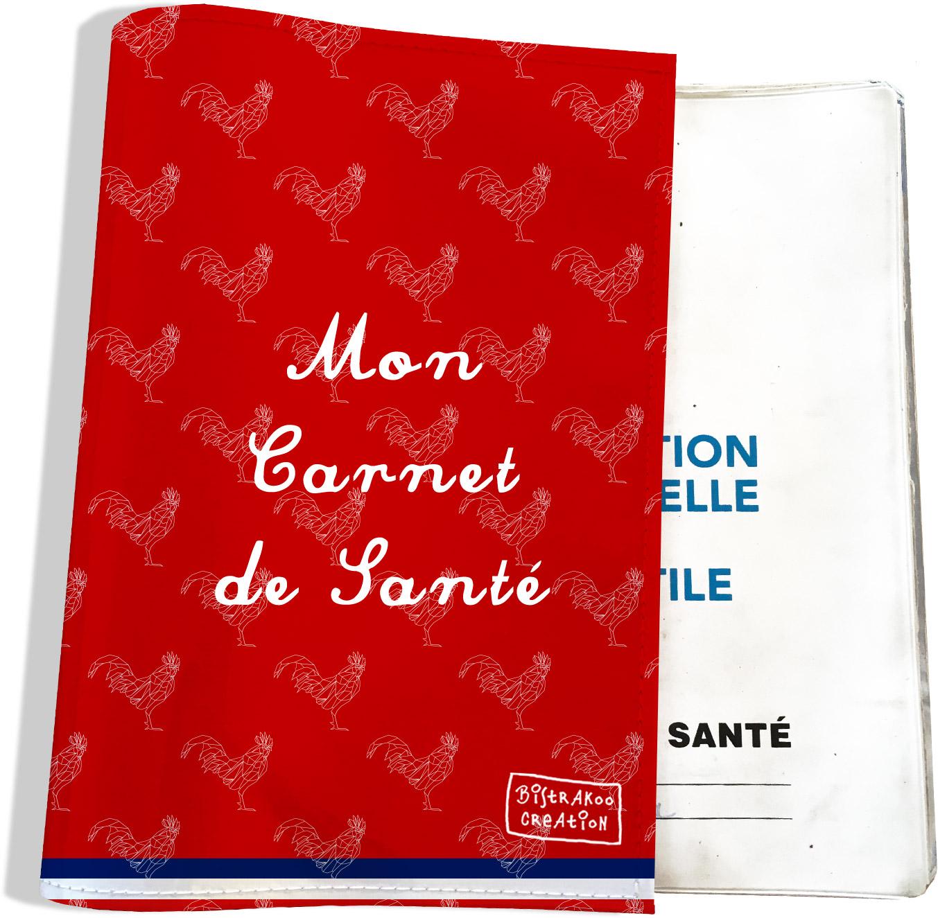 Protège carnet de santé motif Rouge Collection Française