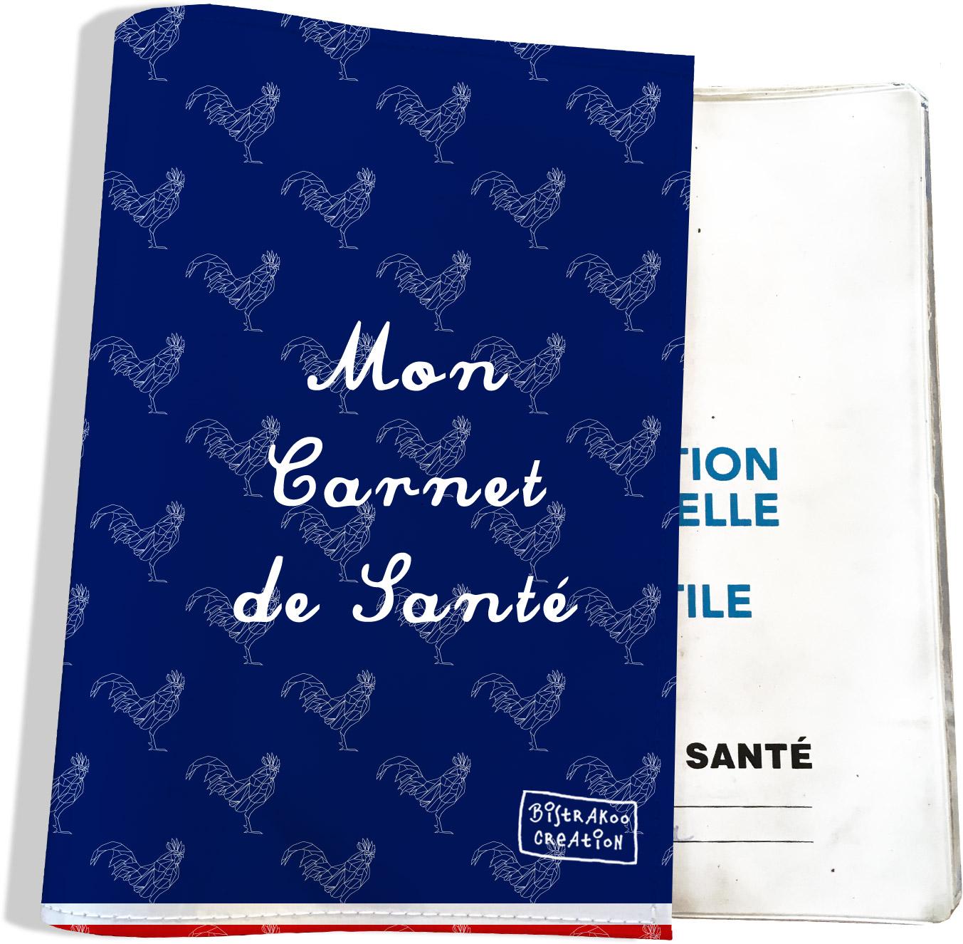 Protège carnet de santé motif Bleu marine Collection Française