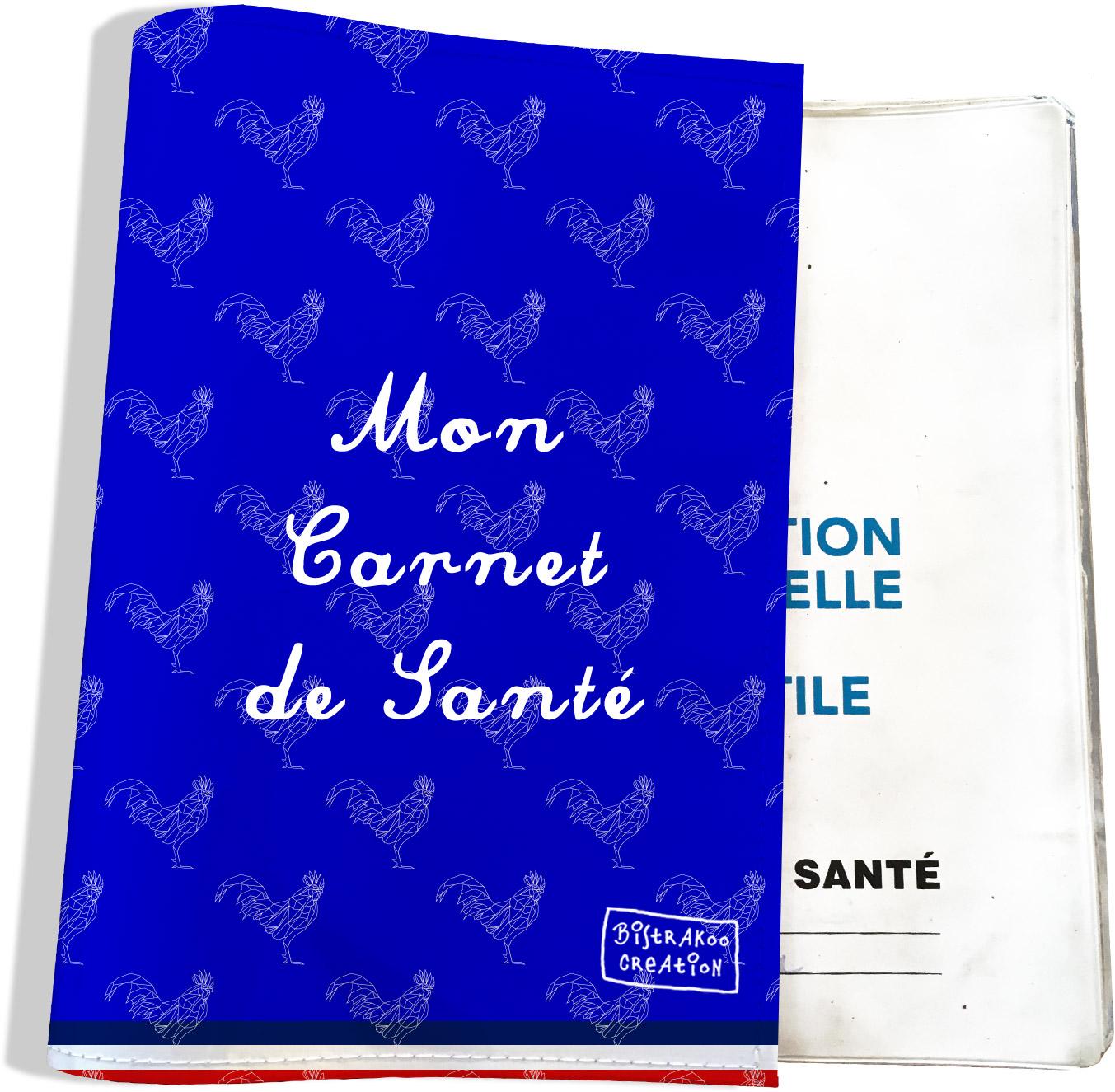 Protège carnet de santé motif Bleu Collection Française