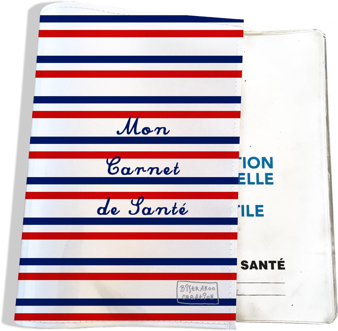 Protège carnet de santé motif Rayures bleues et rouges Collection Française