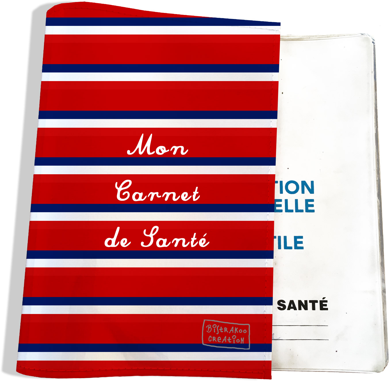 Protège carnet de santé motif Bandes rouges Collection Française