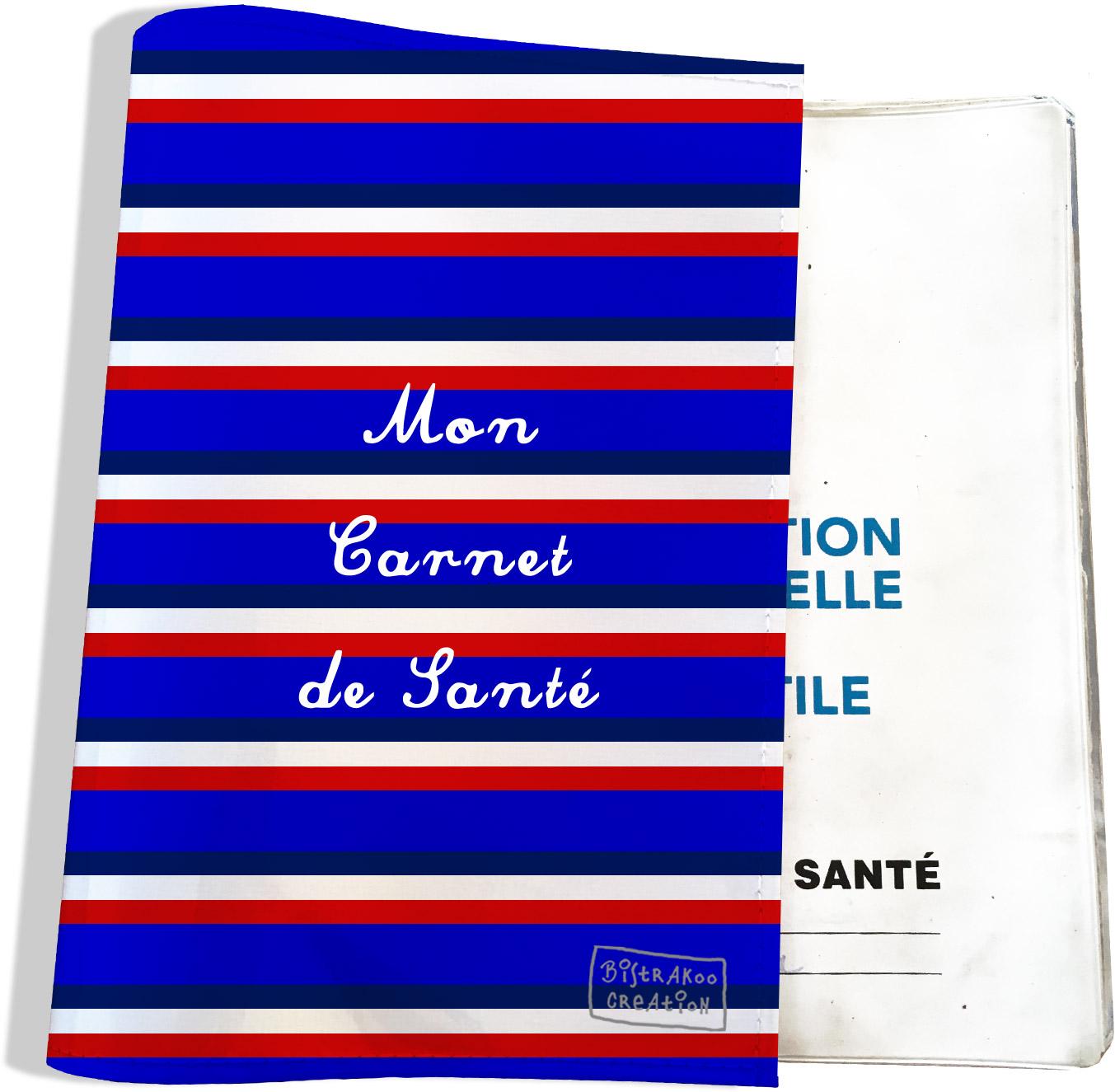 Protège carnet de santé motif Bandes bleues Collection Française