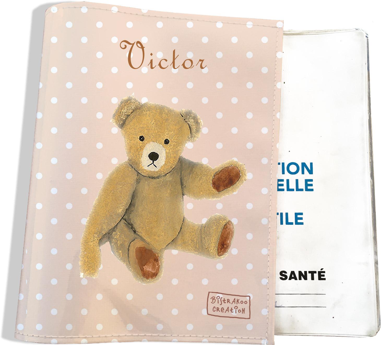 Protège carnet de santé personnalisable bébé garçon enfant motif Ours PC6061-2019