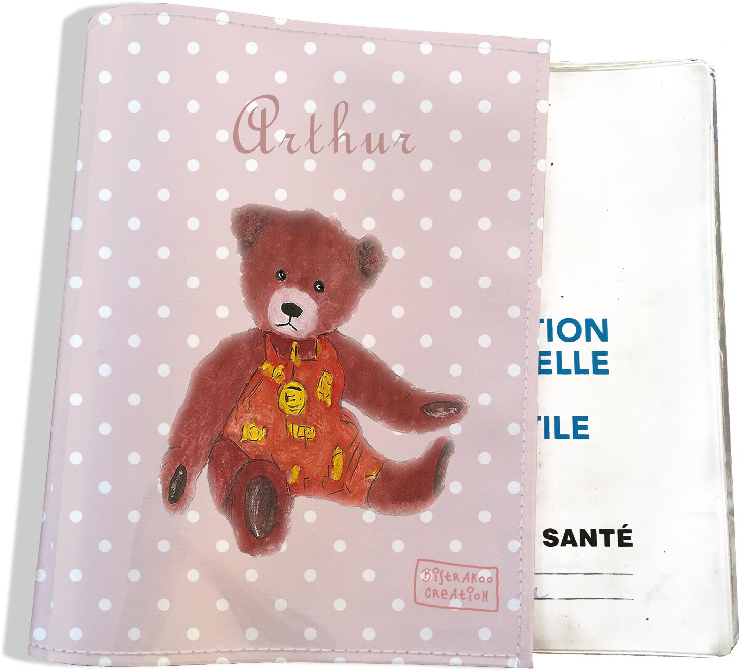 Protège carnet de santé personnalisable bébé garçon enfant motif Ours PC6064-2019