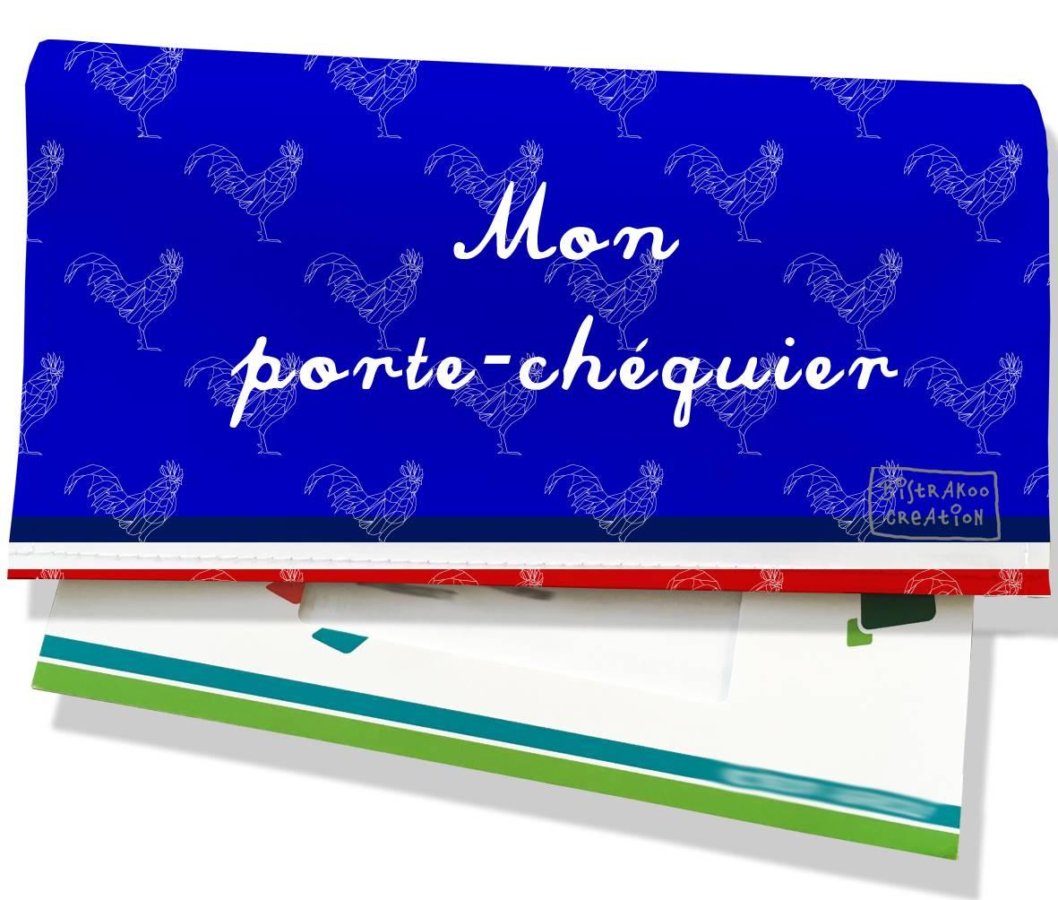 Porte-chéquier motif Bleu Collection Française