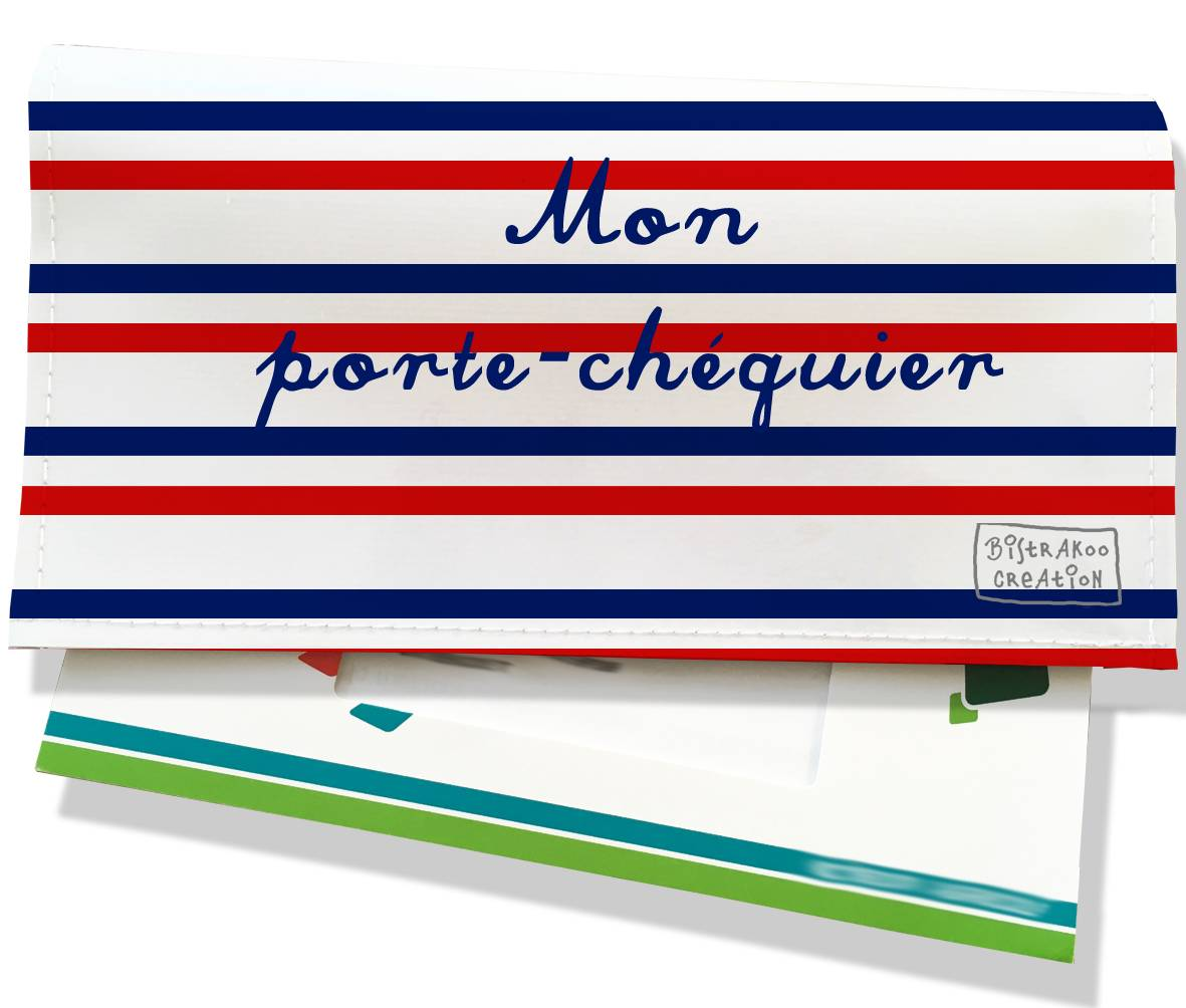 Porte-chéquier motif Rayures Bleues et rouges Collection Française